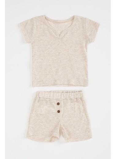 DeFacto Kız Bebek Baskılı Pamuklu Pijama Takımı Ekru